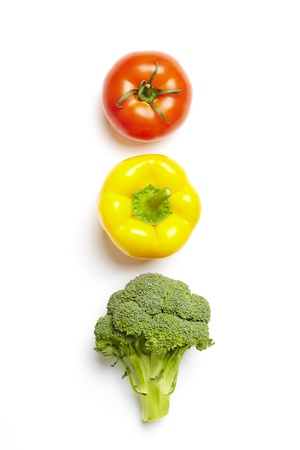 amber light: Vegetable traffic light concept on white background Stock Photo