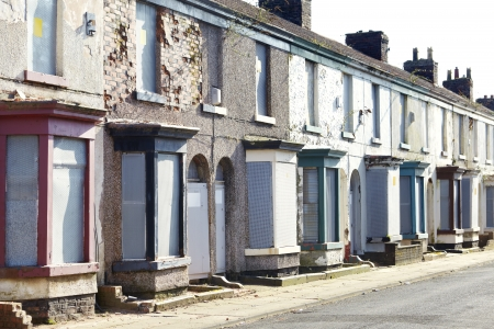 eyesore: Boarded up terraced houses in Liverpool