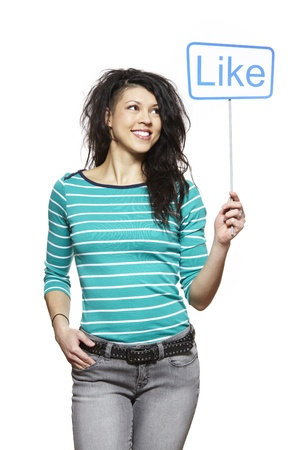 human like: Young woman holding a social media sign smiling on white background
