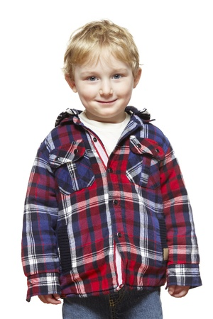 casually: Young boy casually dressed smiling on white background