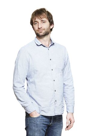 casually dressed: Casually dressed man smiling on white background
