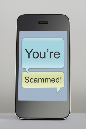 fraudulent: Mobile phone with scam text message speech bubble