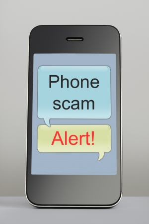 spoken: Mobile phone with scam text message speech bubble