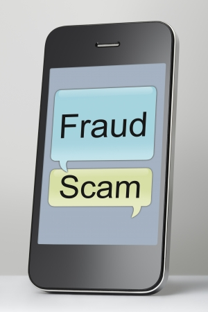 Mobile phone with scam and fraud text message speech bubble Banco de Imagens