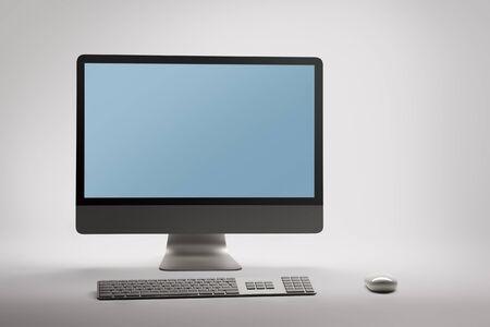 desktop computer: Desktop computer with empty blank screen on white background