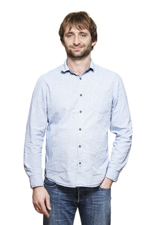 casually: Casually dressed man smiling on white background