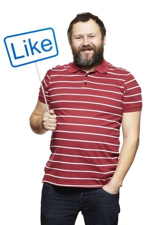 happily: Man holding a social media sign smiling on white background