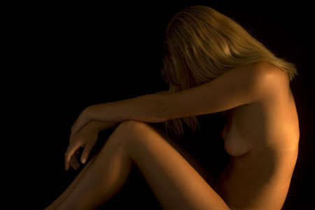 Nude female sitting side on Stock Photo - 676126