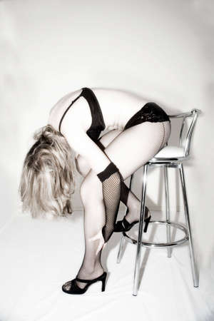 Sexy female posing wearing black lingerie
