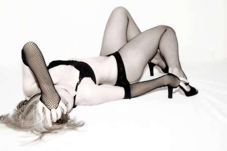 Sexy female posing wearing black lingerie Stock Photo - 718823
