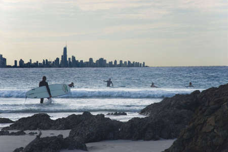palm beach rocky view of Surfers Paradise & surfers,Australia Stock Photo - 795312