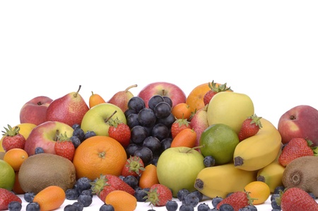 Different kinds of fruits , white background, perspective photo