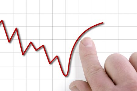 stock price: falling stock price is being pushed upwards by finger