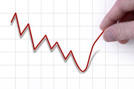 crisis economica: ca�da de los precios de valores est� siendo al alza Pulles con la mano Foto de archivo