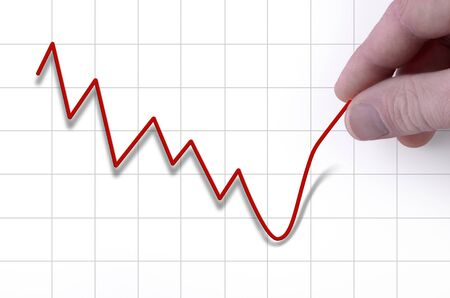 stock price:  falling stock price is being pulles upwards by hand
