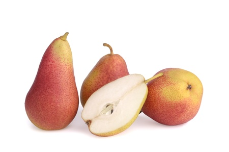 Three pears and a half on white background show fruit pulp, isolated photo