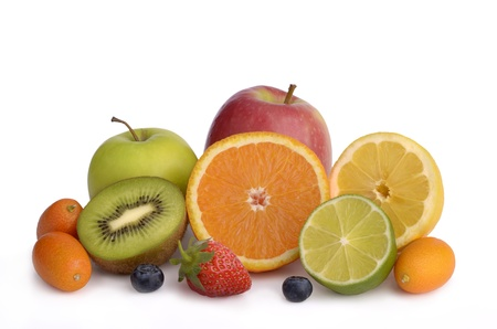 Different fruits cut open show fruit pulp, white background, isolated photo