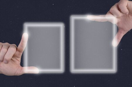 describe: two hands describe, touch touchscreen in front of stars