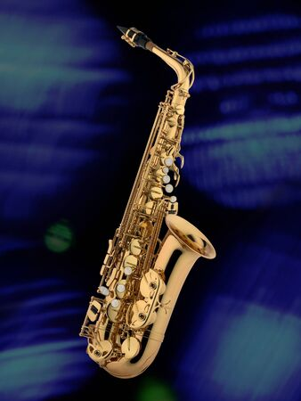 product studioshot of a new saxophone, isolated and blue, blue atmospheric background photo