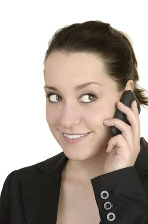 business woman with smart phone talking before white background, studio shot, isolated photo