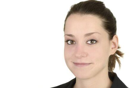 politely: business woman, white background, studio shot, isolated