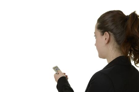 business woman, white background, studio shot, isolated photo