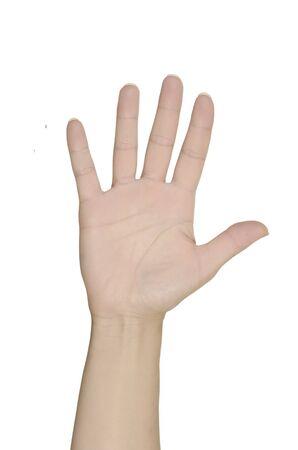 open hand, isolated, white background, studio shot photo