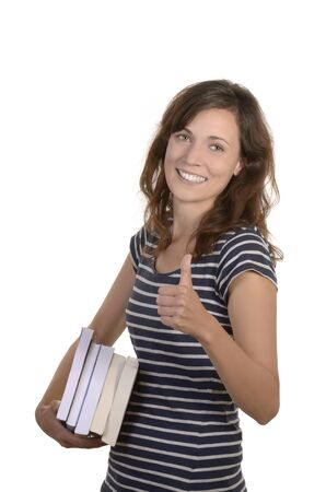pretty young student with books, studio shot, isolated photo