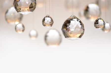 crystal: crystal balls hanging on nylon strings, studio shot Stock Photo