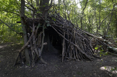 House made out of wooden branches in forest Stock Photo