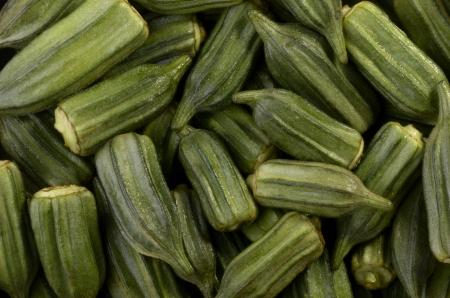 okra fruits, studio shot, isolated photo