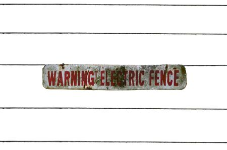electric fence:  Electric Fence with Warning Sign, Outdoor, Isolated Stock Photo