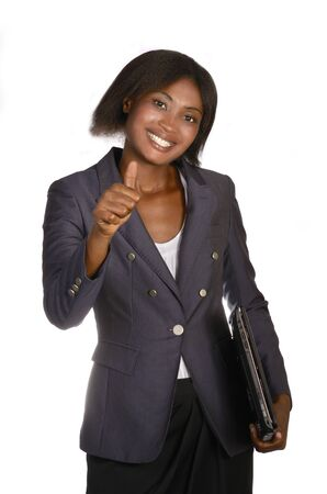 African Business Woman with Notebook, thumbs up, Studio shot photo