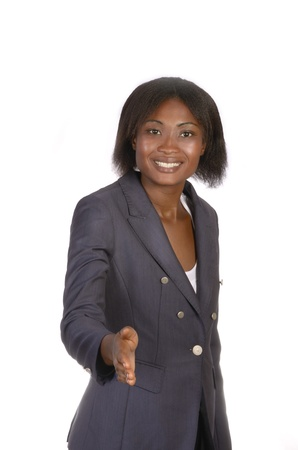 open minded: African Business Woman hand shaking, studio shot Stock Photo