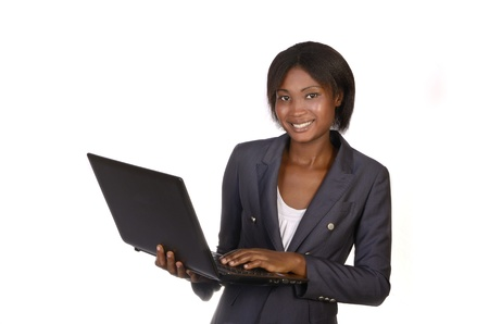 African Business Woman with Notebook, Studio shot photo