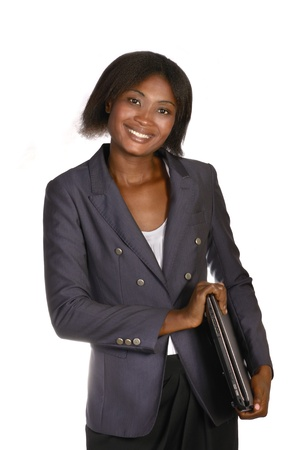 open minded: African Business Woman with Notebook, Studio shot