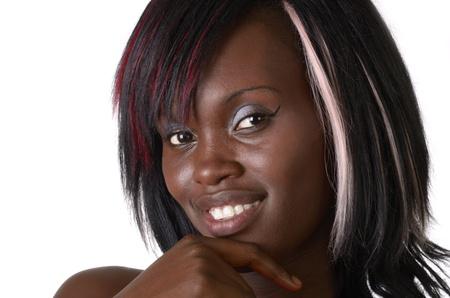 femme africaine: Jolie fille africaine de sourire, tourn� en studio Banque d'images