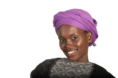 Pretty african girl with scarf, Studio shot Stock Photo
