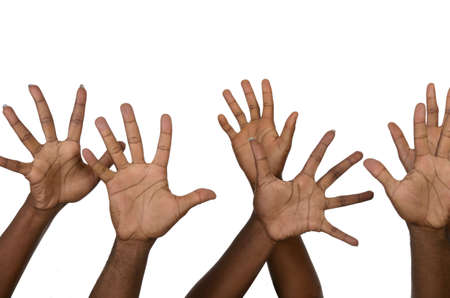 jointly: Six african hands , Studio Shot, isolated