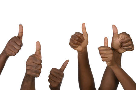 jointly: Six african hands showing thumb up, Studio shot, isolated