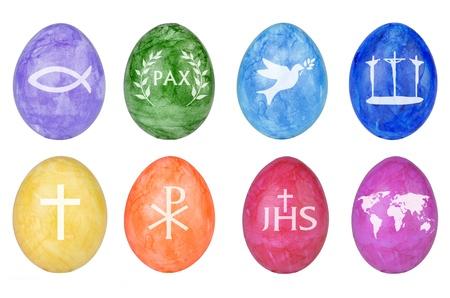 pasqua cristiana: Uova di Pasqua con simboli cristiani, isolato