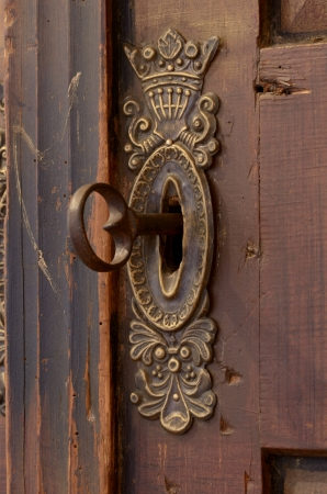 antique keyhole: Old keyhole with key, Closeup, Studio Shot
