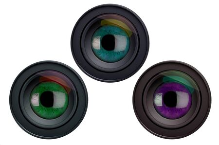 paranoia: Three camera lenses with eyes, composition Stock Photo