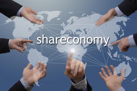 Seven hands with shareconomy illustration, studio shot, montage Stock Photo