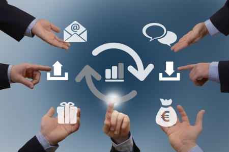 Seven hands with diferent icons, shareconomy   exchange - illustration Stock Photo