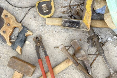 Old fashioned tools at construction site, outdoor shot Stock Photo - 18424695