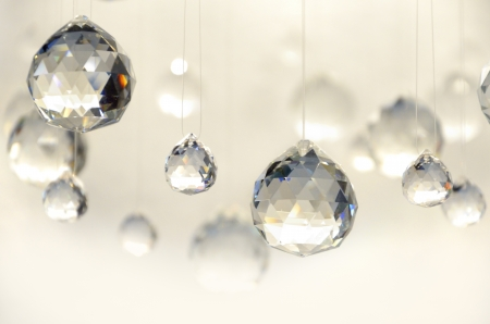 chandelier background: Hanging crystal balls, studio shot