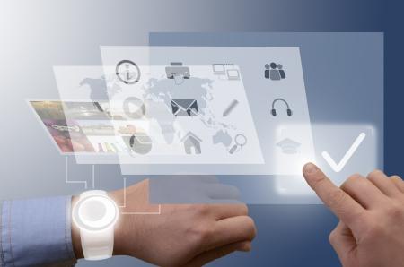 Hand serving smart watch, futuristic illustration