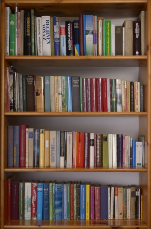 Bookshelf with books and magazines, german titles