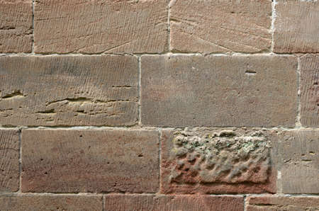 Wall made of colorful sandstone, Nuremberg, Germany Stock Photo